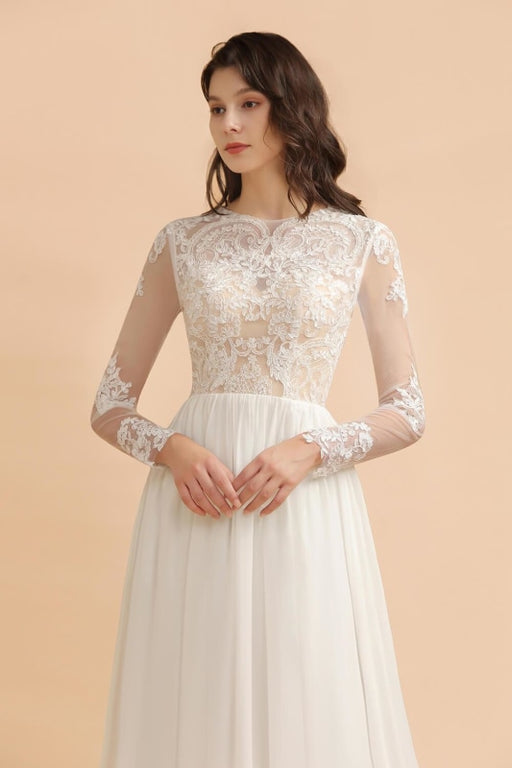 Simple Long Sleeves Lace Floor Length Boho Wedding Dresses - wedding dresses