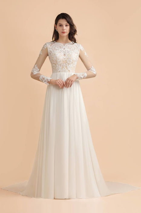 Simple Long Sleeves Lace Floor Length Boho Wedding Dresses - Ivory - wedding dresses