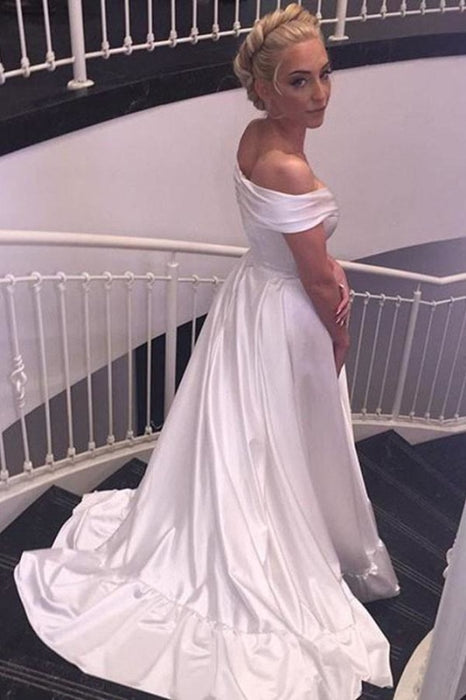 Simple Satin Off-the-shoulder Sexy Sweep Train Beach Wedding Dress - Wedding Dresses