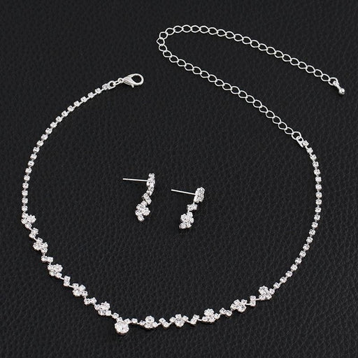 Simple Style Crystal Necklace Earrings Bracelet Jewelry Sets | Bridelily - jewelry sets