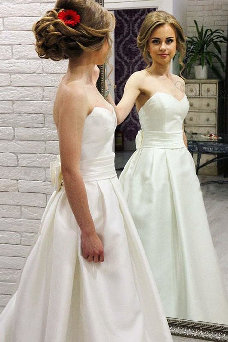 Simple Sweetheart Satin with Bowknot Cheap Beach Wedding Dress - Wedding Dresses