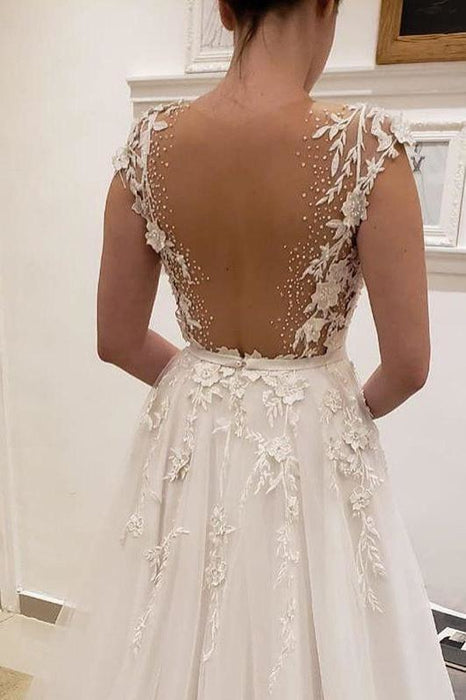 Simple Tulle Lace Illusion Back A-Line A Line V Neck Wedding Dress - Wedding Dresses