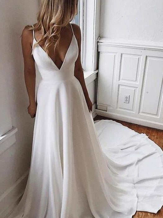 Simple V Neck Chiffon A Line Covered Button Boho Wedding Dresses - White / Floor Length - wedding dresses