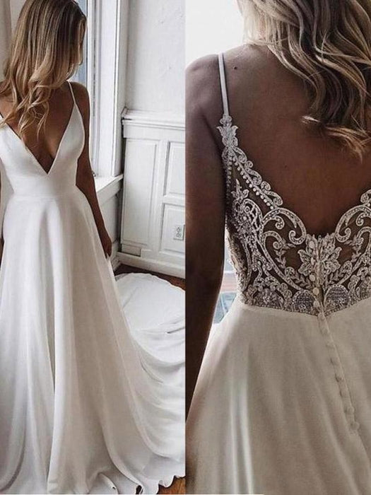Simple V Neck Chiffon A Line Covered Button Boho Wedding Dresses - wedding dresses