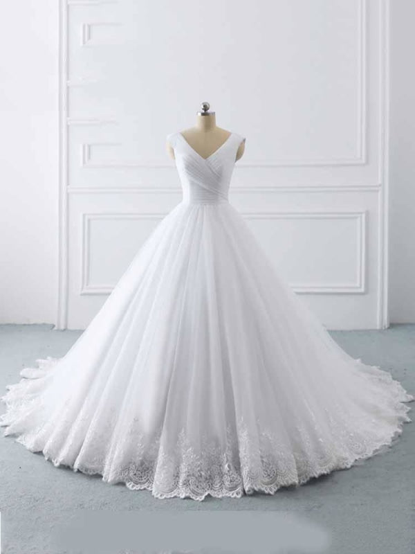 Simple V-Neck Lace-Up Ruffles Ball Gown Wedding Dresses - White / 50cm - wedding dresses
