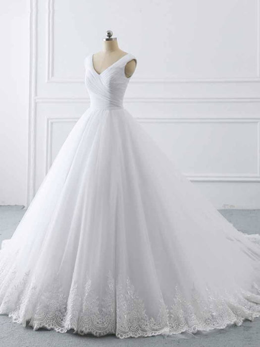 Simple V-Neck Lace-Up Ruffles Ball Gown Wedding Dresses - wedding dresses