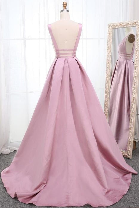 Simple V Neck Sleeveless Prom Dress A Line Ruched Long Evening Dresses - Prom Dresses