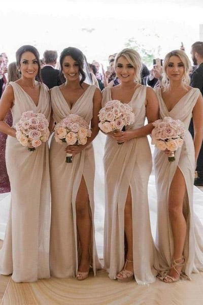 Simple V Neck Sleeveless Sheath Cheap Pleated Long Bridesmaid Dress - Bridesmaid Dresses