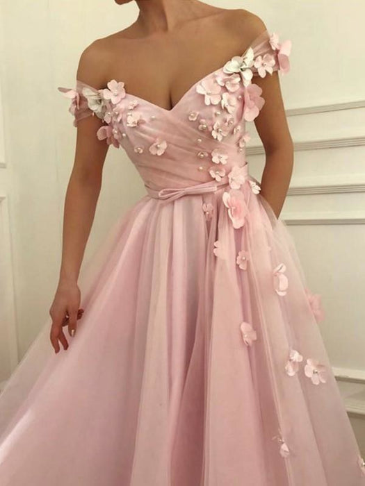 Sleeveless Off-The-Shoulder Floor-Length With Applique Tulle Dresses - Prom Dresses