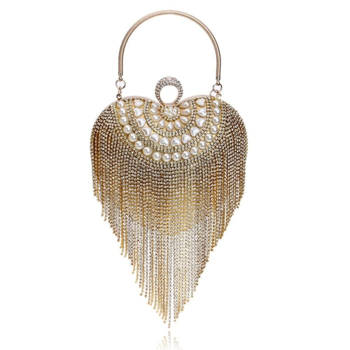 Small Tassel Crystal With Handle Wedding Handbags | Bridelily - YM1078Gold - wedding handbags