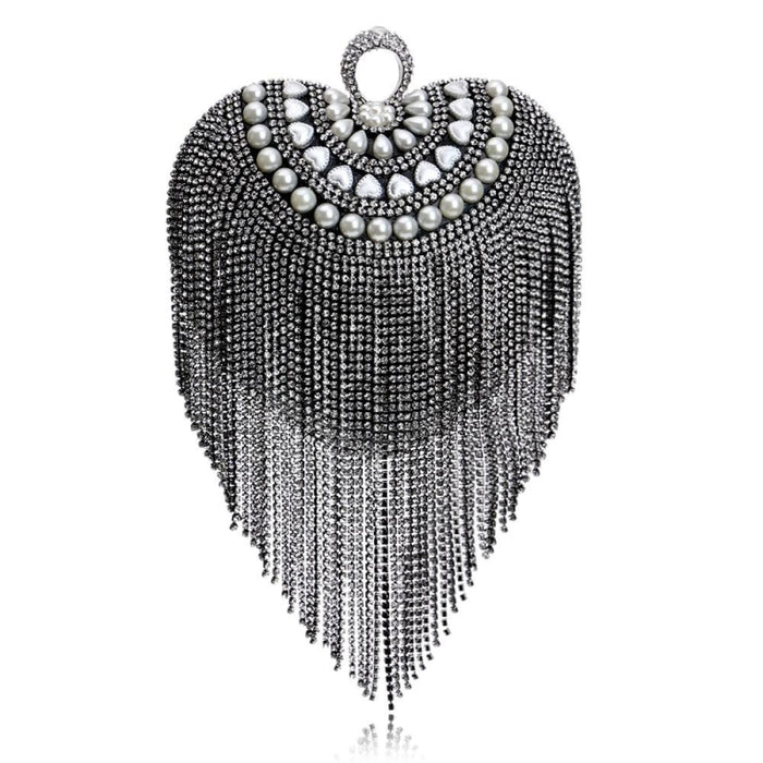 Small Tassel Crystal With Handle Wedding Handbags | Bridelily - YM1078Black - wedding handbags