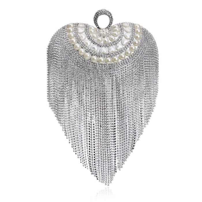 Small Tassel Crystal With Handle Wedding Handbags | Bridelily - YM1078Silver - wedding handbags