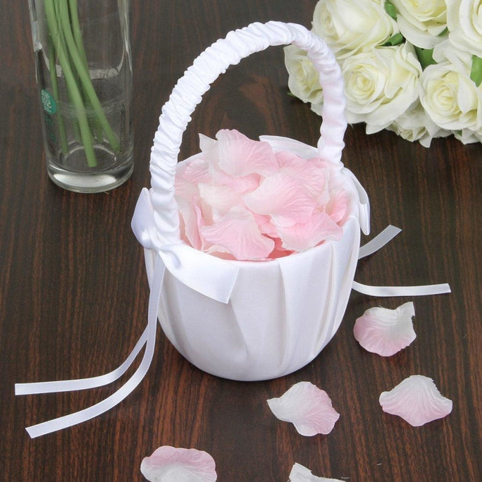 Soft Satin Bowknot Rinbon Flower Basket | Bridelily - flower baskets