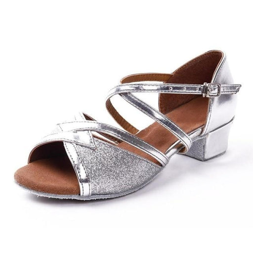 Soft Sole Sequined Lace-Up Ballroom Dance Shoes | Bridelily - Silver / 12.5 - ballroom dance shoes