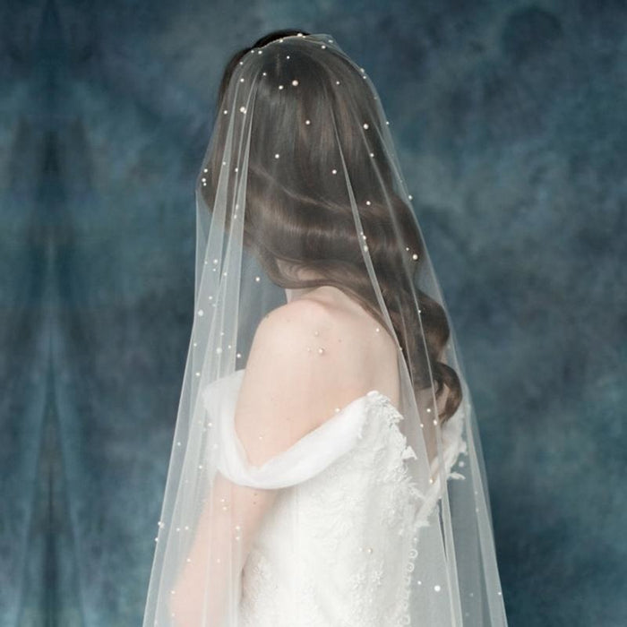 Soft Tulle Simulated Pearl One Layer Wedding Veils | Bridelily - wedding veils