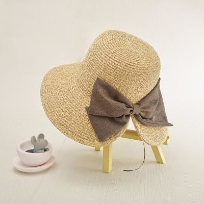 Solid Adjustable Bow Folding Snapback Straw Hats | Bridelily - Beige - straw hats