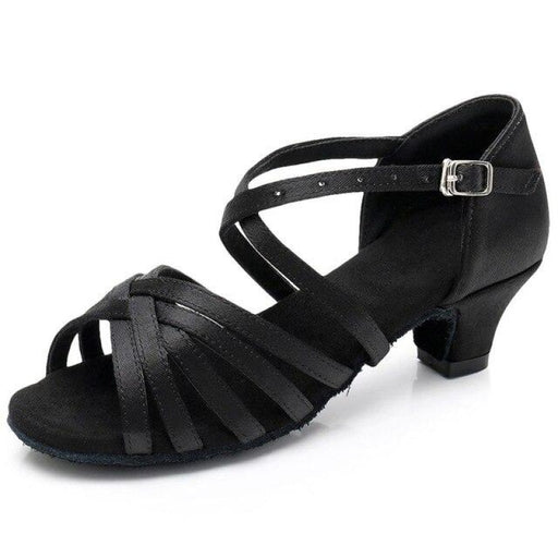 Solid Bowkont Buckle Heeled Ballroom Dance Shoes | Bridelily - Black / 9.5 - ballroom dance shoes