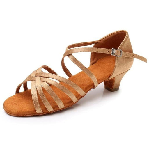 Solid Bowkont Buckle Heeled Ballroom Dance Shoes | Bridelily - Beige / 9.5 - ballroom dance shoes