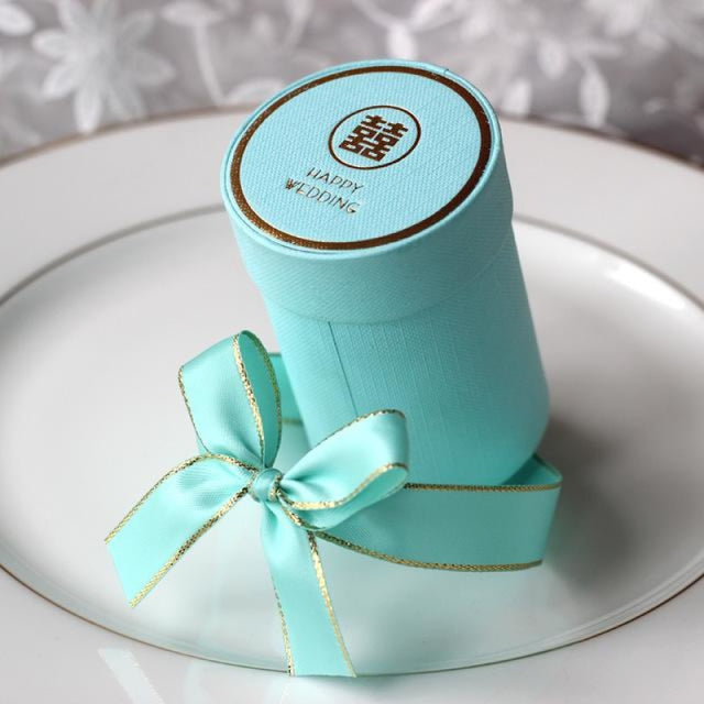 Solid Cylinder With Ribbon Bowknot Favor Holders | Bridelily - Blue / 10 PCS - favor holders