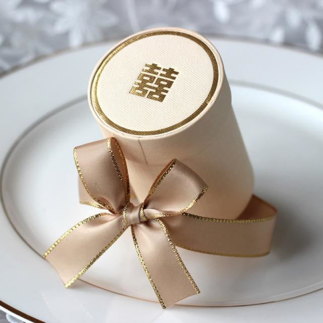 Solid Cylinder With Ribbon Bowknot Favor Holders | Bridelily - Beige / 10 PCS - favor holders