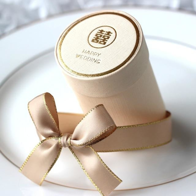 Solid Cylinder With Ribbon Bowknot Favor Holders | Bridelily - Beige 1 / 10 PCS - favor holders
