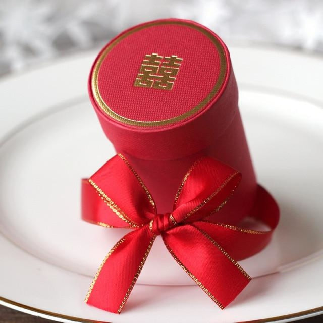 Solid Cylinder With Ribbon Bowknot Favor Holders | Bridelily - Red / 10 PCS - favor holders