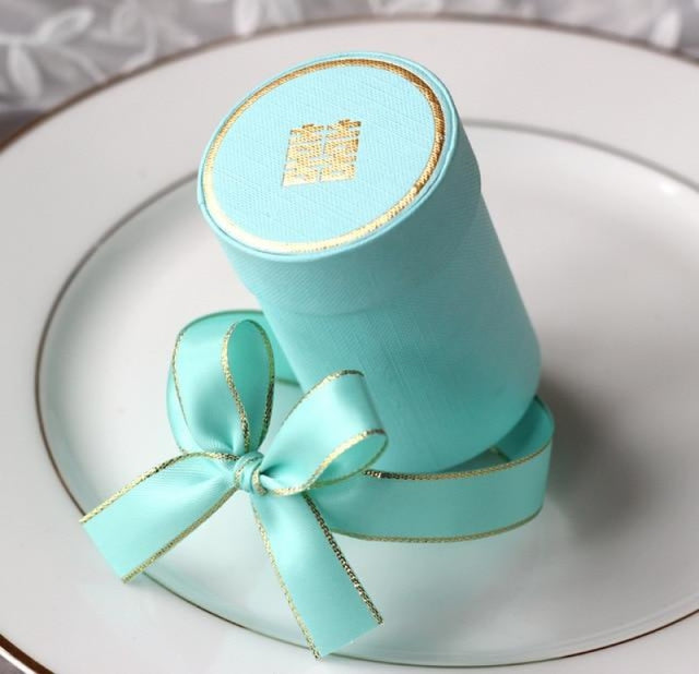 Solid Cylinder With Ribbon Bowknot Favor Holders | Bridelily - Sky blue / 10 PCS - favor holders