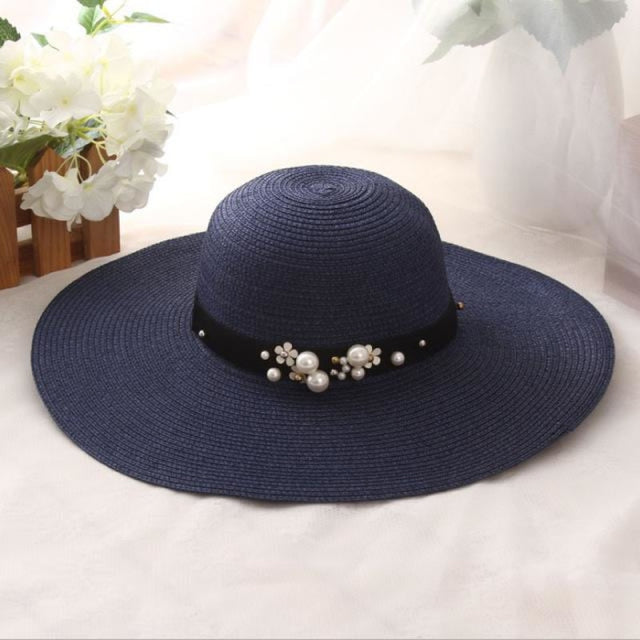 Solid Large Brimmed With Pearl Kentucky Derby Hats | Bridelily - Blue - kentucky derby hats