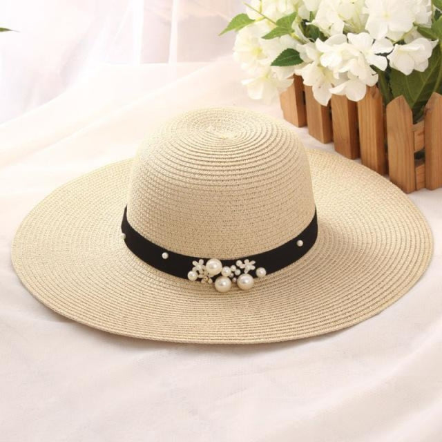 Solid Large Brimmed With Pearl Kentucky Derby Hats | Bridelily - Beige - kentucky derby hats