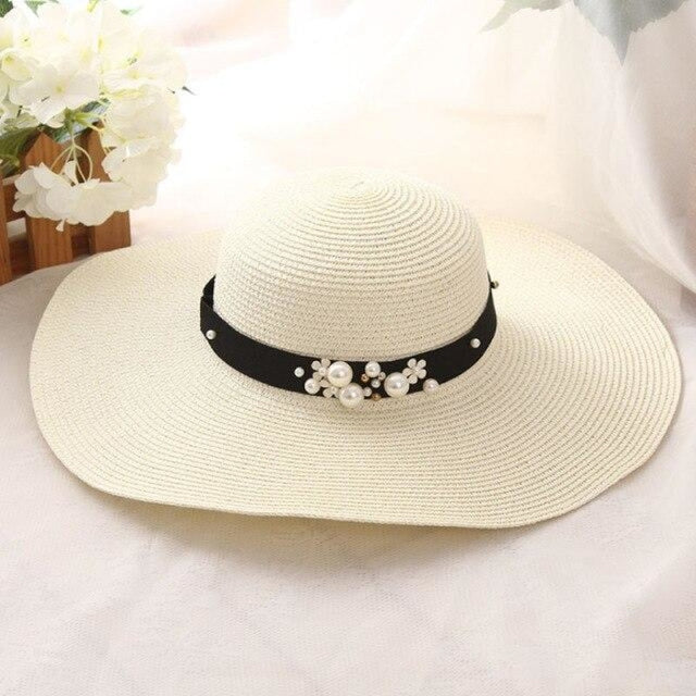 Solid Large Brimmed With Pearl Kentucky Derby Hats | Bridelily - Milk white - kentucky derby hats