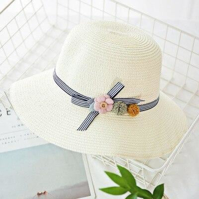 Solid Plain Straw Wide Brim Flowers Beach/Sun Hats | Bridelily - Milky white / Adult size - beach/sun hats