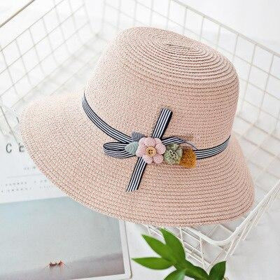 Solid Plain Straw Wide Brim Flowers Beach/Sun Hats | Bridelily - Light pink / Adult size - beach/sun hats