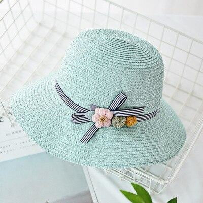 Solid Plain Straw Wide Brim Flowers Beach/Sun Hats | Bridelily - Light green / Adult size - beach/sun hats