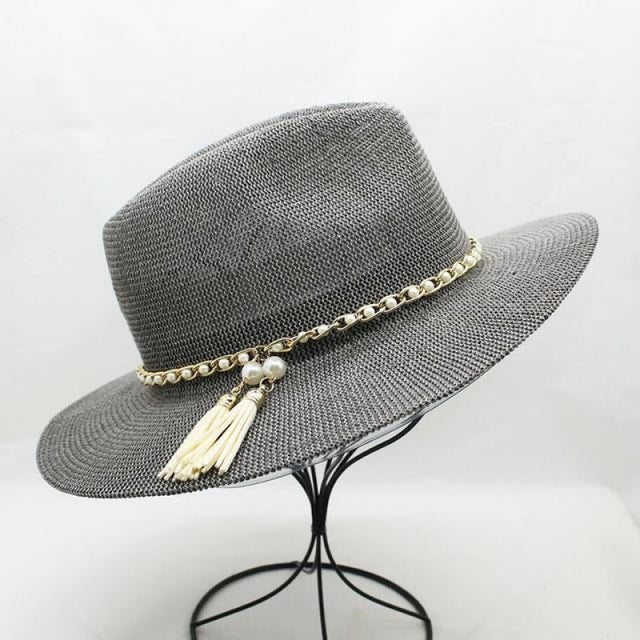 Solid Tassel Pearls Chain Wide Brim Straw Hats | Bridelily - gray - straw hats
