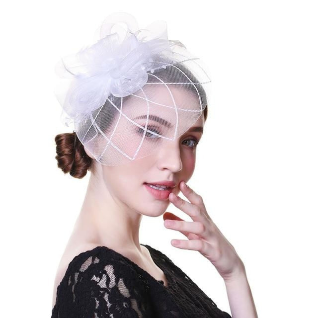 Solid Veils Feather Flower Clip Fascinators | Bridelily - 9029-B - fascinators