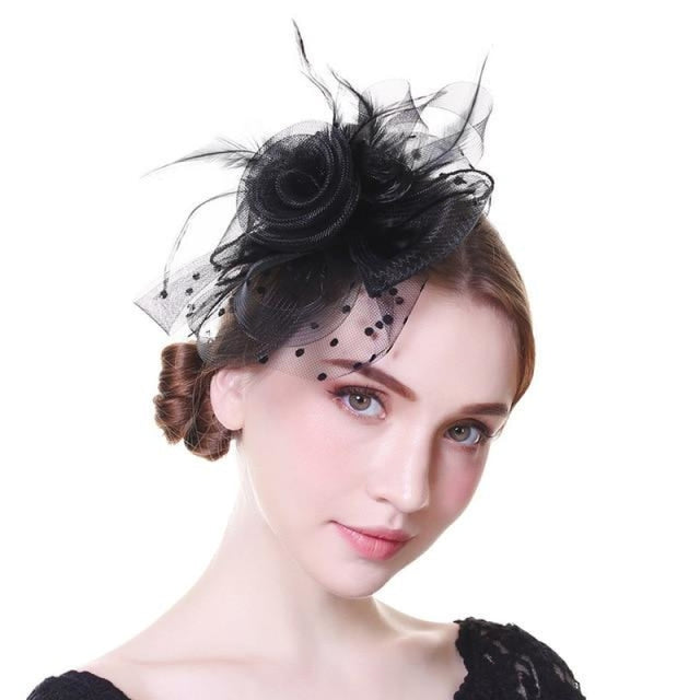 Solid Veils Feather Flower Clip Fascinators | Bridelily - 9028-A - fascinators