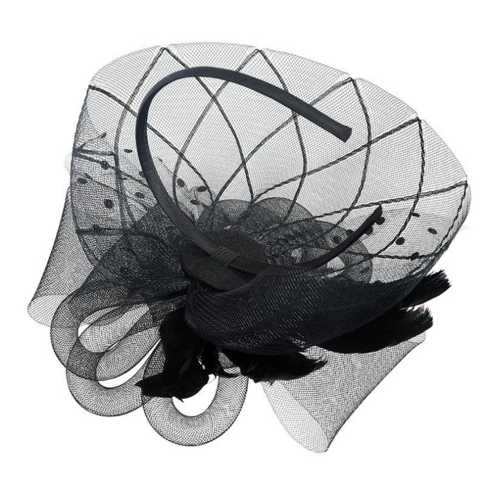 Solid Veils Feather Flower Clip Fascinators | Bridelily - fascinators