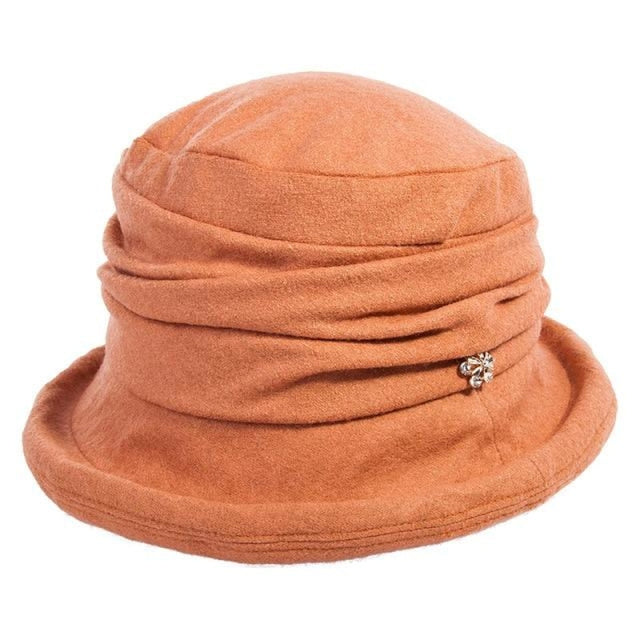Solid Wool Vintage Flower Bowler Floppy Hats | Bridelily - Orange / One Size - floppy hats