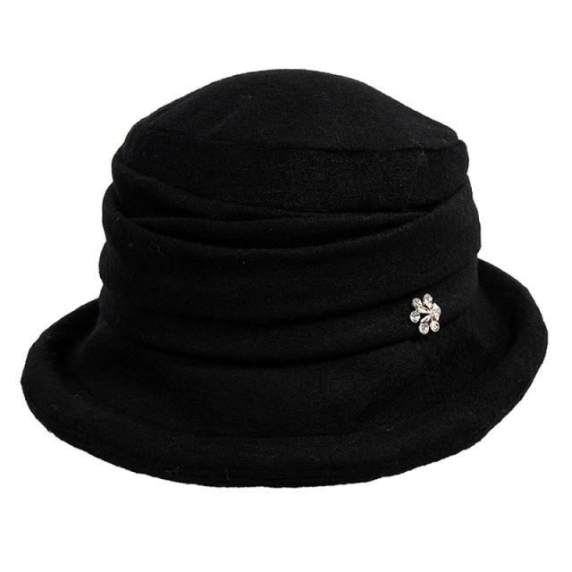 Solid Wool Vintage Flower Bowler Floppy Hats | Bridelily - Black / One Size - floppy hats
