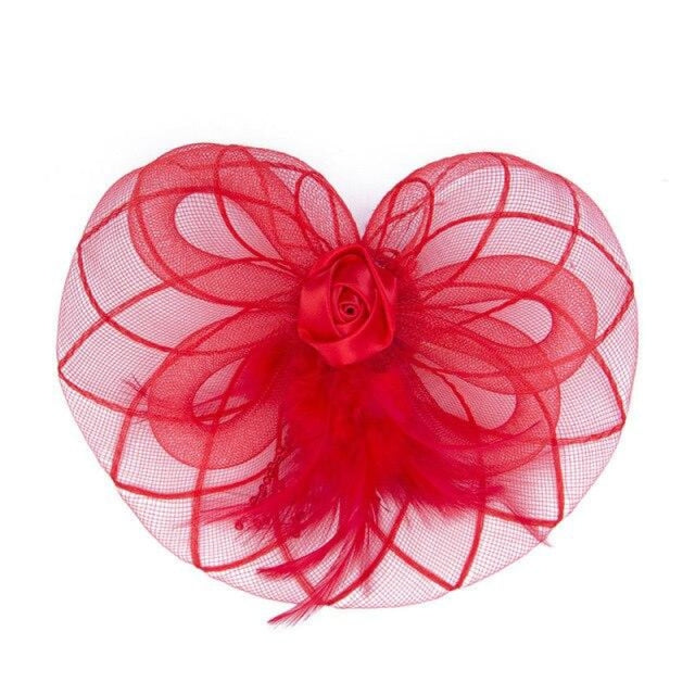 Sombreros Crown Feather Flower Clips Fascinators | Bridelily - Red - fascinators