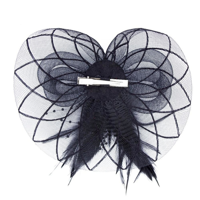 Sombreros Crown Feather Flower Clips Fascinators | Bridelily - Black - fascinators