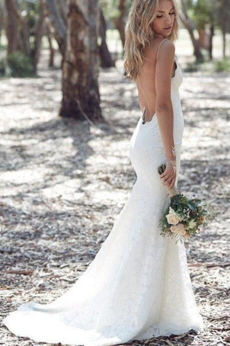 Spaghetti Strap Lace Beach Backless V Neck Sweep Train Long Wedding Dress - Wedding Dresses