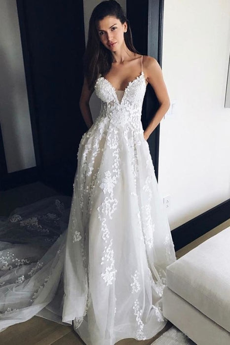 Spaghetti Strap V Neck Beach Court Train Tulle Wedding Dress with Lace - Wedding Dresses