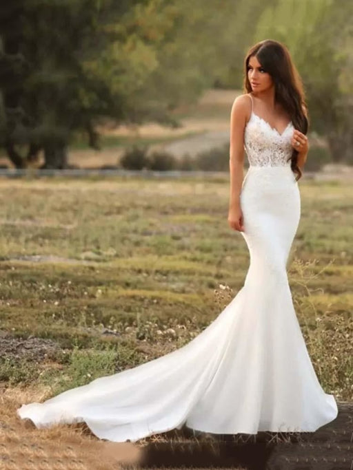 Spaghetti-Strap V-Neck Mermaid Wedding Dresses - wedding dresses