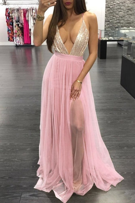 Spaghetti Strap V Neck Tulle Prom with Sequins Floor Length Backless Party Dress - Prom Dresses