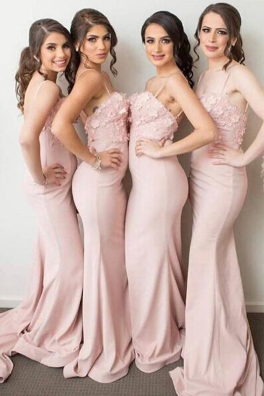 Spaghetti Straps Long Sheath Mermaid Long Pink Bridesmaid Dresses - Bridesmaid Dresses