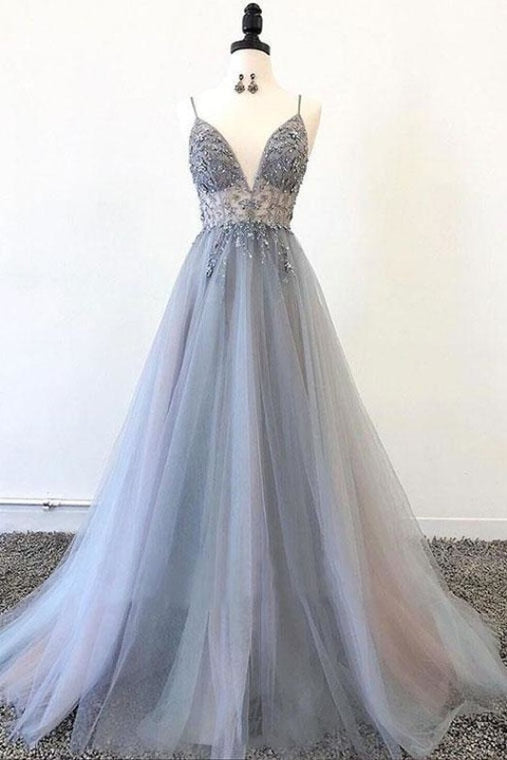 Spaghetti Straps V Neck Tulle Prom Appliques A Line Long Formal Dress with Beads - Prom Dresses