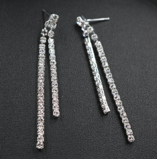 Sparkling Silver Crystal Double Strips Bridal Earrings | Bridelily - earrings