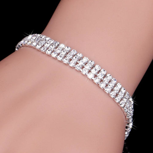 Sparkly 2-12 Rows Rhinestone Wedding Bracelets | Bridelily - 3 Rows Crystal - bracelets