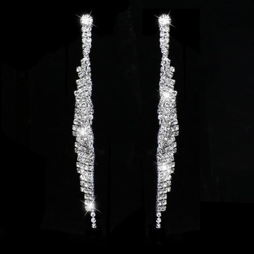 Sparkly Silver Crystal Tassel Long Wedding Earrings | Bridelily - earrings
